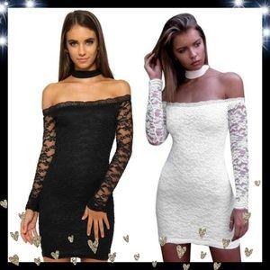New Halter/choker, off shoulder lace package dress